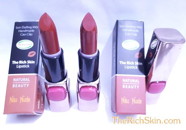 son duong moi co mau handmade chat luong cao The Rich Skin – Lipstick – lipbalm – matte lipstick – colour lipstick – clip care- natural thien nhien- mau NAU NUDE- nau dat 3