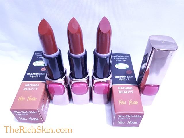 son duong moi co mau handmade chat luong cao The Rich Skin – Lipstick – lipbalm – matte lipstick – colour lipstick – clip care- natural thien nhien- mau NAU NUDE- nau dat 5