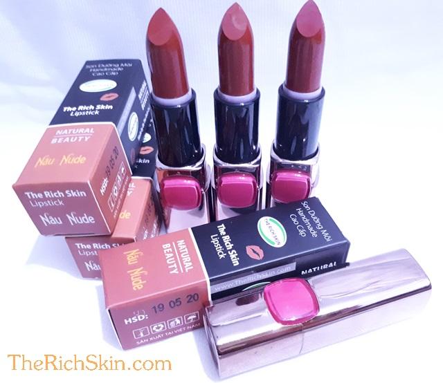 son duong moi co mau handmade chat luong cao The Rich Skin – Lipstick – lipbalm – matte lipstick – colour lipstick – clip care- natural thien nhien- mau NAU NUDE- nau dat 6