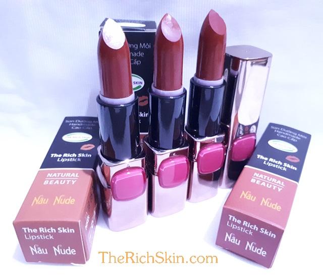 son duong moi co mau handmade chat luong cao The Rich Skin – Lipstick – lipbalm – matte lipstick – colour lipstick – clip care- natural thien nhien- mau NAU NUDE- nau dat 8
