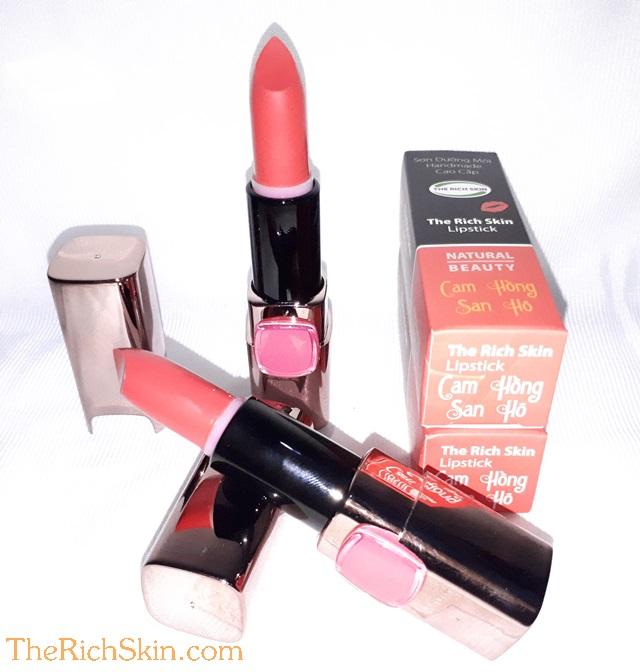 son duong moi co mau handmade chat luong cao The Rich Skin – Lipstick – lipbalm – matte lipstick – colour lipstick – clip care- natural thien nhien- mau- mau cam hong san ho 10