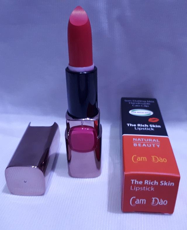 son duong moi co mau handmade chat luong cao The Rich Skin – Lipstick – lipbalm – matte lipstick – colour lipstick – clip care- natural thien nhien- mau cam dao 2